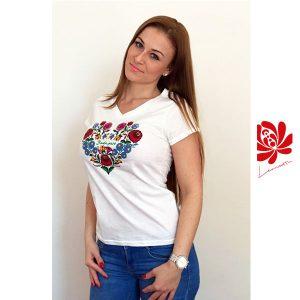 Női póló kalocsai mintával fehér