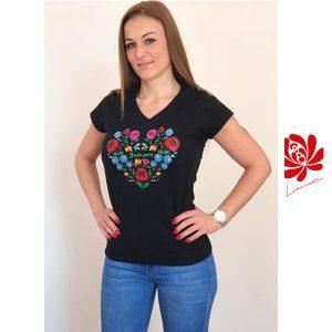 Női póló kalocsai mintával fekete