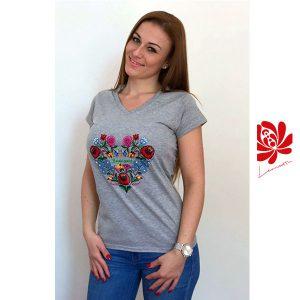 Női póló kalocsai mintával szürke