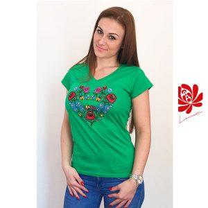Női póló kalocsai mintával zöld